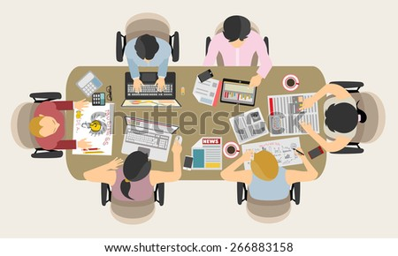 Team work  with Flat style. A lot of design elements are included: computers, mobile devices, desk supplies, pencil,coffee mug, sheets,documents and so on - stock vector