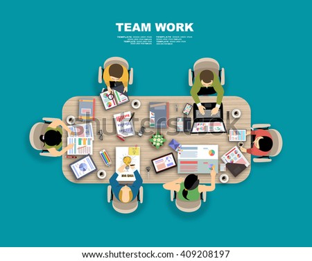 Team work with Flat style. A lot of design elements are included: computers, mobile devices, desk supplies, pencil,coffee mug, sheets,documents and so on