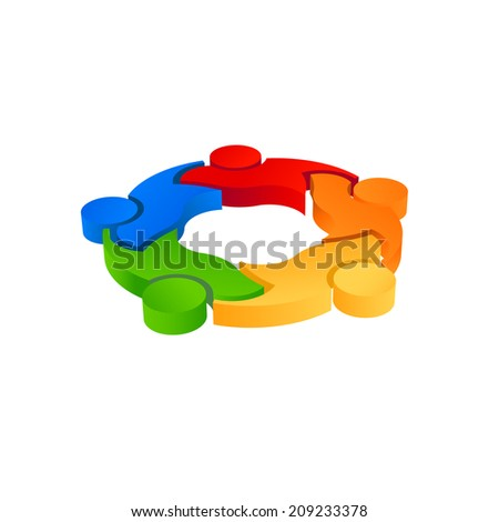 Teaming 5 image. 3D vector icon - stock vector