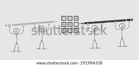 teams with two men playing tic tac toe game - stock vector