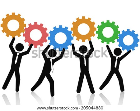 teams working up gears - stock vector