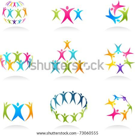 Teamwork abstract human icons - stock vector