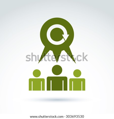 Teamwork and business team and friendship icon, social group, organization, vector conceptual symbol for your design. - stock vector