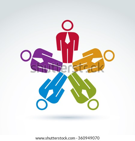 Teamwork and business team and friendship icon, social group, vector conceptual unusual symbol for your design. - stock vector