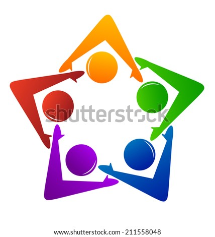 Teamwork and partnership concept. People vector icons in a star shape working in social cooperation to success and support important ideas. - stock vector