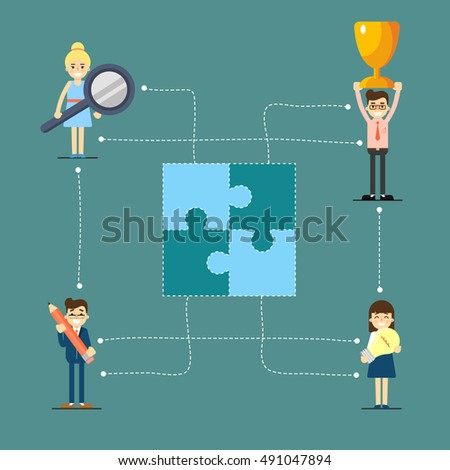 Teamwork and social media network with networking people vector illustration. Community of networking people or teamwork people partnership concept. Connecting teamwork people in collaboration map.