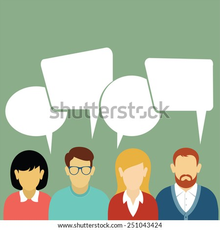 Teamwork. Brainstorming. People icons with dialog speech bubbles.  - stock vector