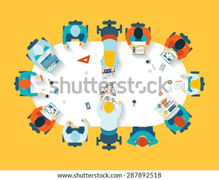 Teamwork. Business brainstorming top view. Office team, meeting  table, people and company, vector illustration - stock vector