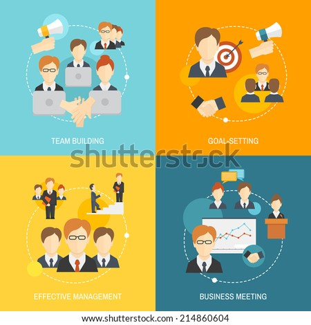 Teamwork business collaboration effective management flat composition icons set isolated vector illustration. - stock vector