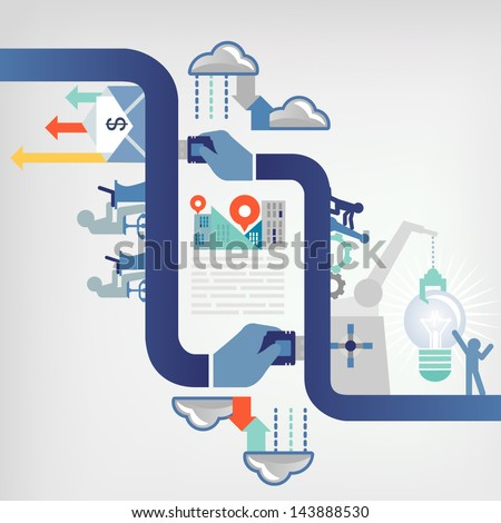 teamwork /business concept - stock vector