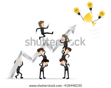 teamwork businessman raise graph arrow with leader reaching up to get golden trophy on white background,  concept of achievement - stock vector