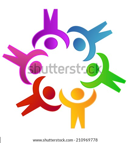 Teamwork colorful people working together .Solidarity ,community and collaboration symbol vector icon - stock vector