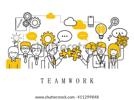 Teamwork Concept, Business People Team-On White Background-Vector Illustration, Graphic Design