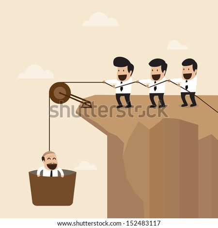 Teamwork concept : Businesspeople help to pull another from bottom of cliff