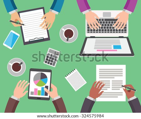 Teamwork concept. Group of people working, top view. Flat design vector illustration. - stock vector