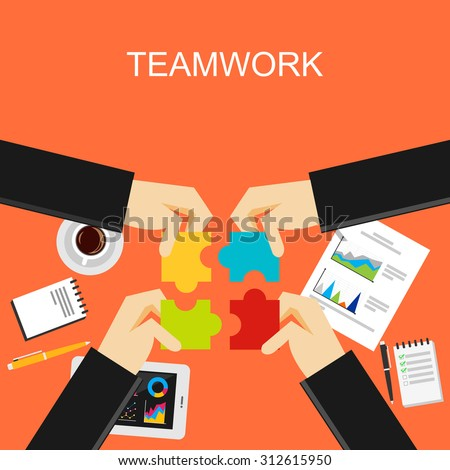 Teamwork concept illustration. Flat design illustration concepts for teamwork, team, meeting, discussion, working, business, planning, development, brainstorming, strategy, create solution.  - stock vector