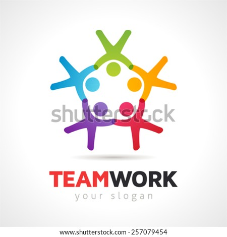Teamwork Concept People Symbol  Vector Logo Template - stock vector