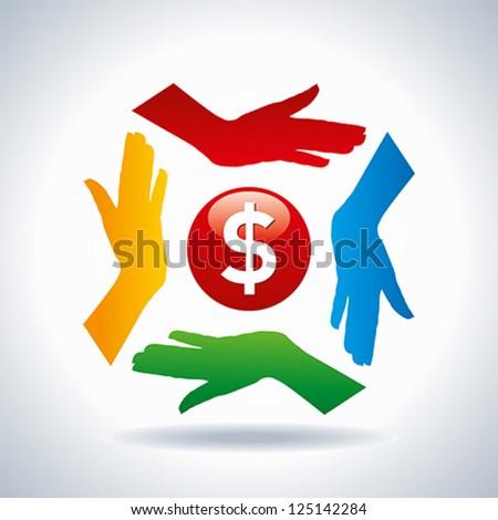 teamwork concept. save money - stock vector