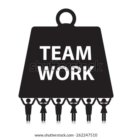 Teamwork concept. Silhouette people holding up a heavy weight. - stock vector