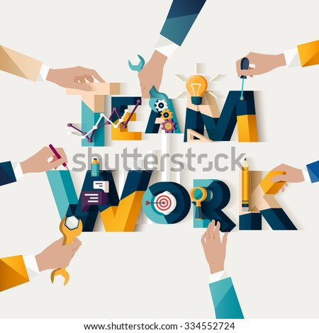 Teamwork concept. Typographic poster. - stock vector