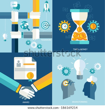 Teamwork concept. Vector. Brainstorming. Time is money. Finance. Vector.  - stock vector