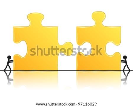 Teamwork concept, vector eps10 illustration - stock vector