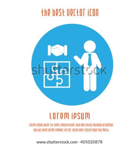 Teamwork concept vector icon. Businessman puzzle handshake sign symbol. Blue white round logo. - stock vector