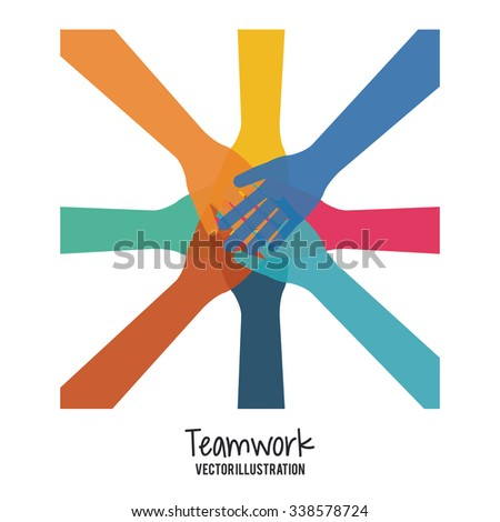 Teamwork concept with business icons design, vector illustration 10 eps graphic. - stock vector