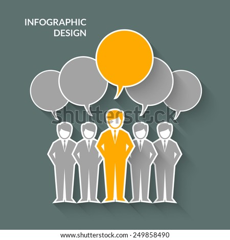 Teamwork concept with paper business people silhouettes and speech bubbles vector illustration - stock vector
