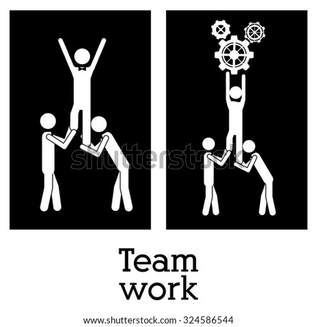 Teamwork concept with pictogram design, vector illustration eps 10