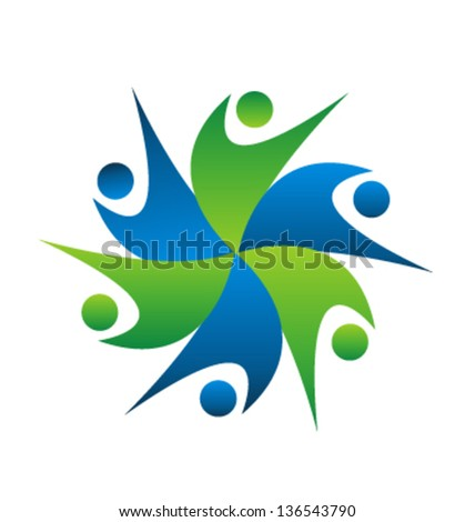 Teamwork connected people icon vector - stock vector