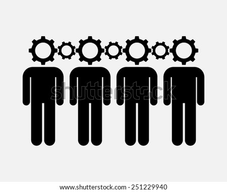 teamwork cooperation synergy interaction thinking together creativity concept vector  - stock vector