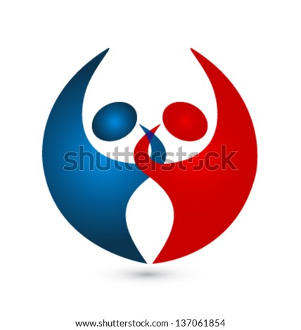 Teamwork couple connected icon vector - stock vector