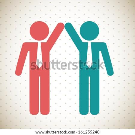 teamwork design over dotted background vector illustration  - stock vector