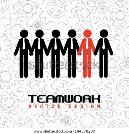 teamwork design over gears background vector illustration - stock vector