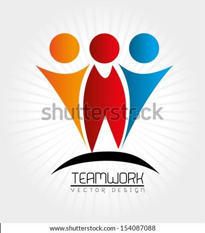 teamwork design over gray background vector illustration - stock vector