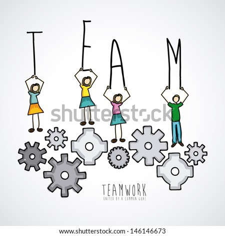 teamwork design over lineal background vector illustration