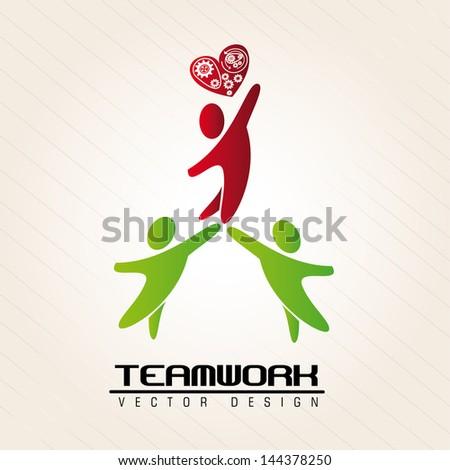 teamwork design over pink background vector illustration - stock vector