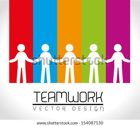 teamwork design over rainbow background vector illustration - stock vector