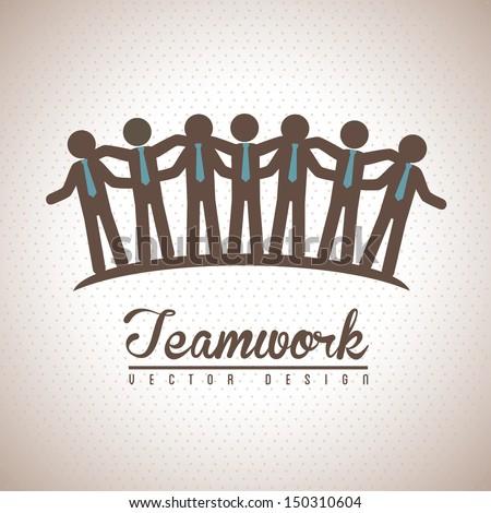 teamwork design over vintage background vector illustration  - stock vector
