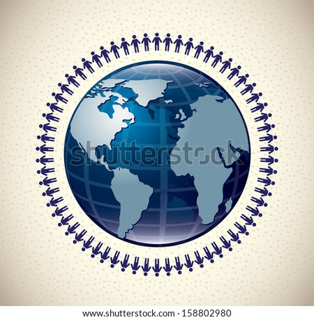 teamwork design over vintage background vector illustration
