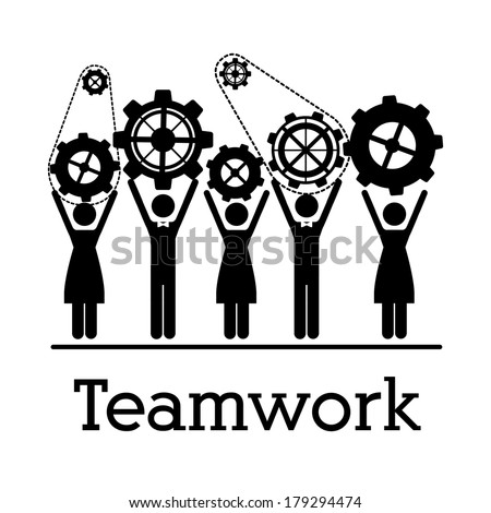 teamwork design over white   background vector illustration  - stock vector