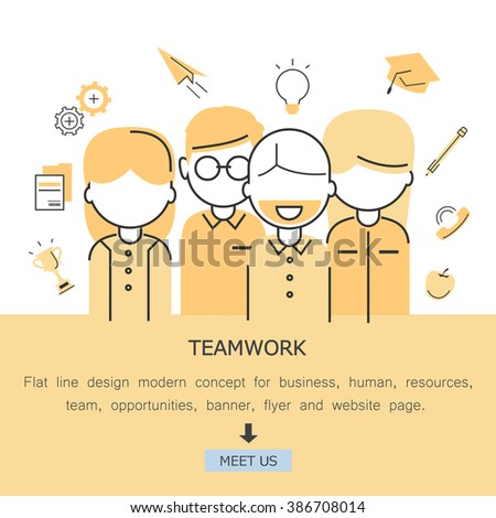 Teamwork-Flat Line Design Modern Concept For Business,Human Resources,Team,Work,Opportunities,Banner,Flyer And Website Page.Isolated On White Background.Team Workers And Entrepreneurs - stock vector