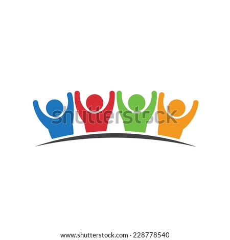 Teamwork Four happy people. Vector icon - stock vector