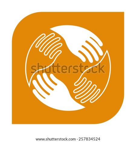 Teamwork Hands Logo. Human connection. - stock vector