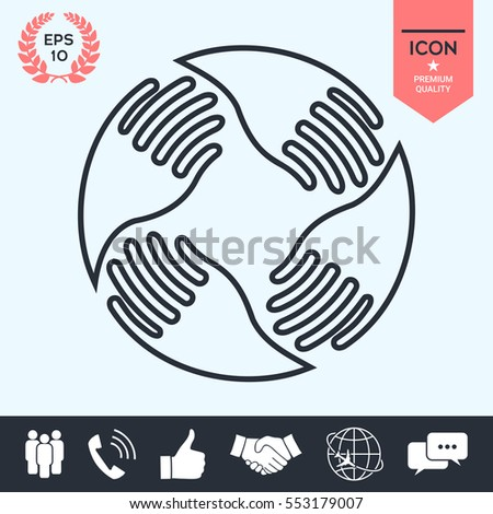 Teamwork Hands Logo. Human connection. Line icon