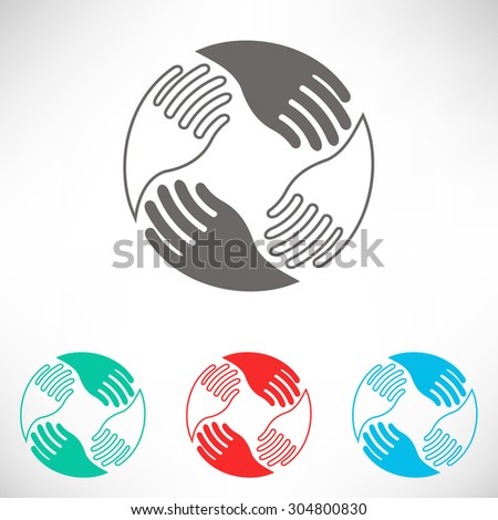 Teamwork Hands Logo. Human connection. Set of varicolored icons. - stock vector