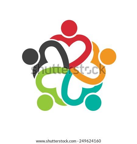 Teamwork 5 heart people logo social friendship - stock vector