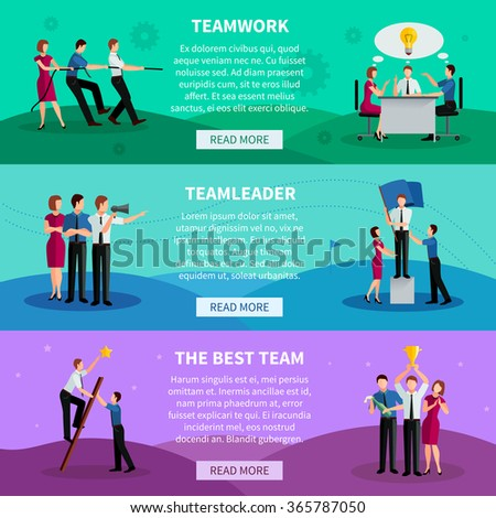 Teamwork horizontal banners with people working in command team leader and best team flat vector illustration  - stock vector