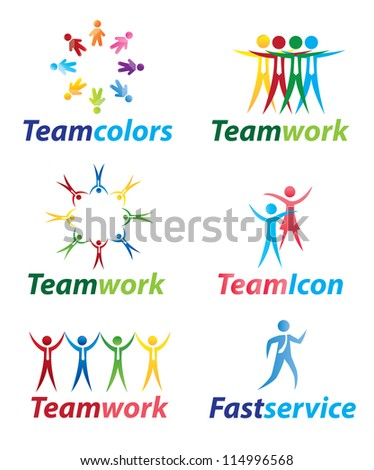 Teamwork icons with people in signal of unity vector illustration - stock vector